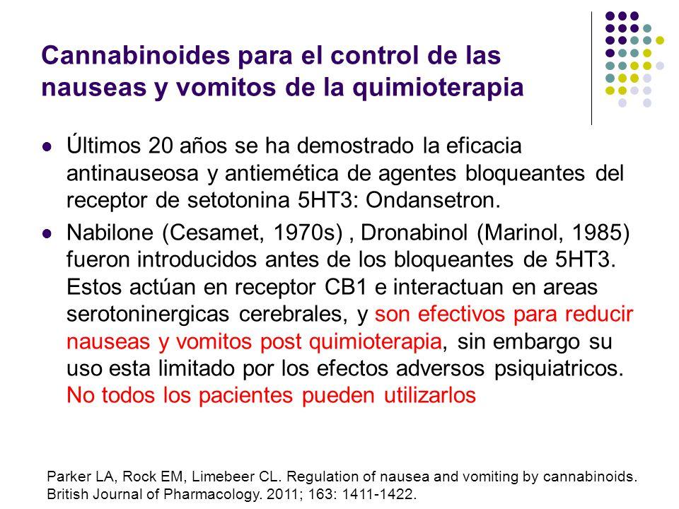Cannabinoides para el control de las nauseas y vómitos de la quimioterapia Los autores concluyen que la nabilona oral y el dronabinol oral o intramusc