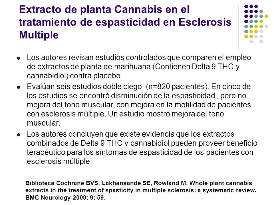 Cannabinoides para el control de las nauseas y vomitos de la quimioterapia Últimos 20 años se ha demostrado la eficacia antinauseosa y antiemética de