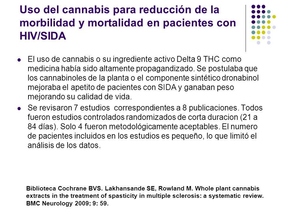 Extracto de planta Cannabis en el tratamiento de espasticidad en Esclerosis Multiple Los autores revisan estudios controlados que comparen el empleo d