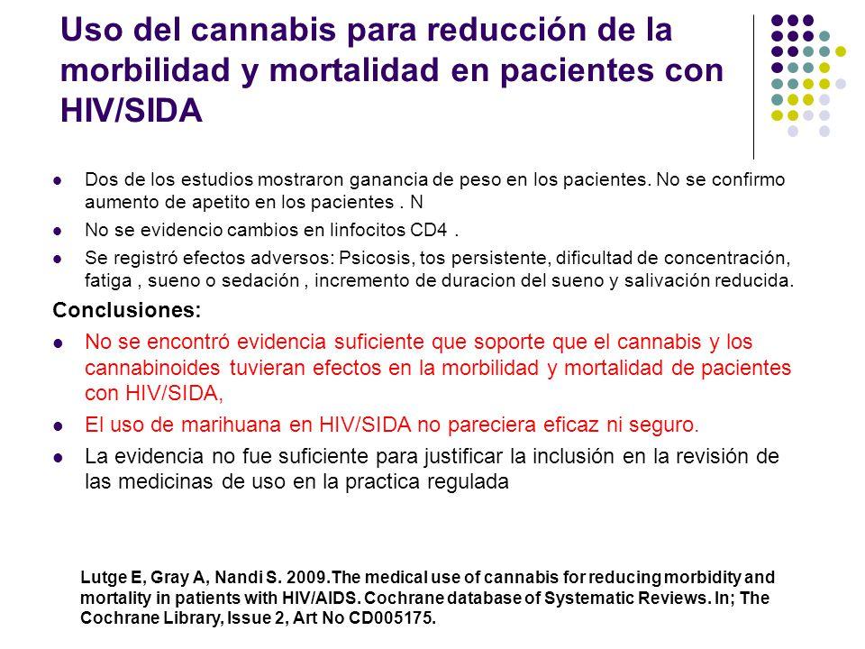 Uso del cannabis para reducción de la morbilidad y mortalidad en pacientes con HIV/SIDA El uso de cannabis o su ingrediente activo Delta 9 THC como me