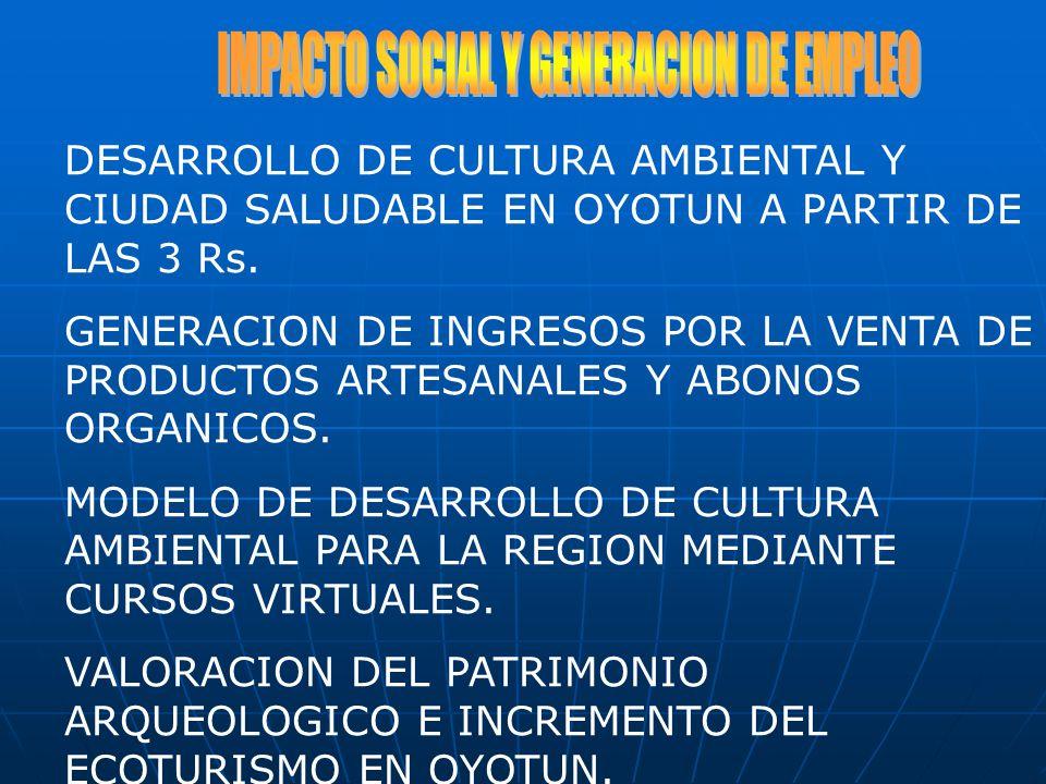 DESARROLLO DE CULTURA AMBIENTAL Y CIUDAD SALUDABLE EN OYOTUN A PARTIR DE LAS 3 Rs. GENERACION DE INGRESOS POR LA VENTA DE PRODUCTOS ARTESANALES Y ABON
