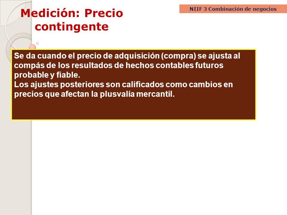 Medición: Precio contingente NIIF 3 Combinación de negocios Se da cuando el precio de adquisición (compra) se ajusta al compás de los resultados de he