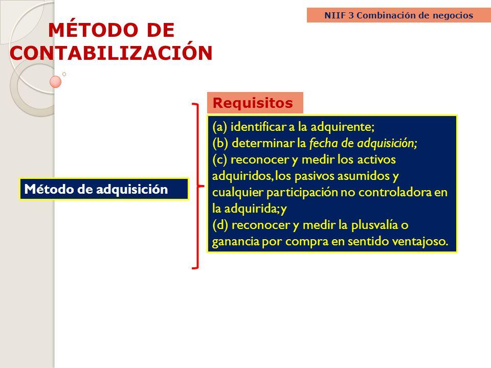 MÉTODO DE CONTABILIZACIÓN NIIF 3 Combinación de negocios Método de adquisición (a) identificar a la adquirente; (b) determinar la fecha de adquisición