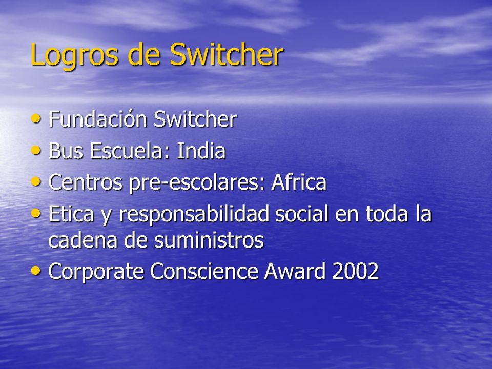 Logros de Switcher Fundación Switcher Fundación Switcher Bus Escuela: India Bus Escuela: India Centros pre-escolares: Africa Centros pre-escolares: Af