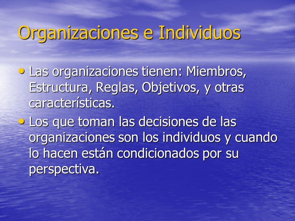 Organizaciones e Individuos Las organizaciones tienen: Miembros, Estructura, Reglas, Objetivos, y otras características. Las organizaciones tienen: Mi