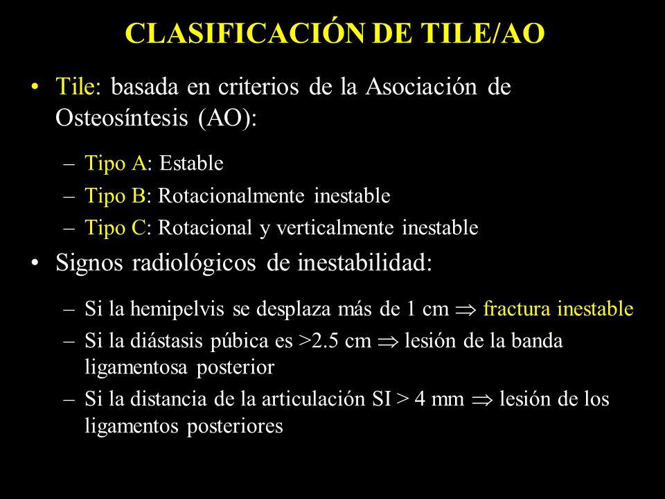 Tile: basada en criterios de la Asociación de Osteosíntesis (AO): –Tipo A: Estable –Tipo B: Rotacionalmente inestable –Tipo C: Rotacional y verticalme