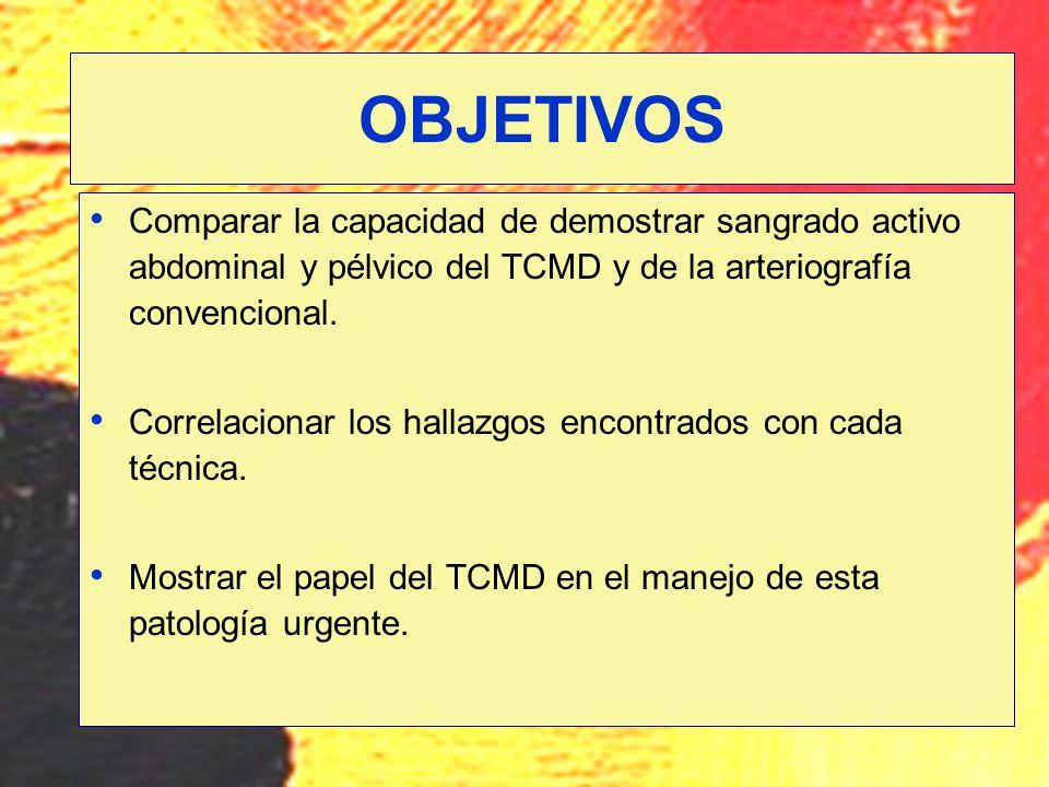 Comparar la capacidad de demostrar sangrado activo abdominal y pélvico del TCMD y de la arteriografía convencional. Correlacionar los hallazgos encont
