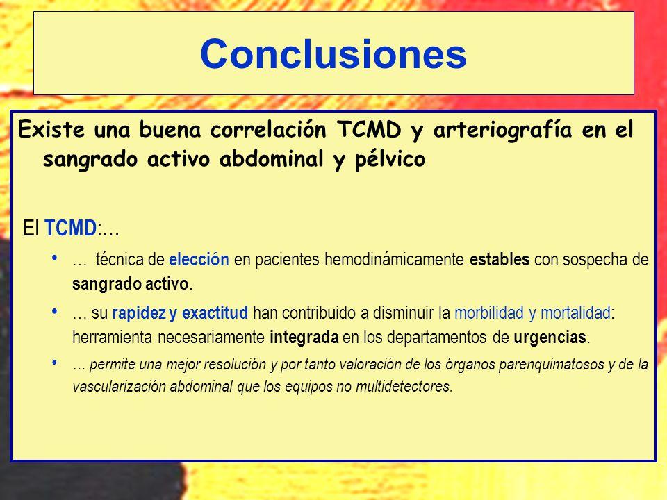 Existe una buena correlación TCMD y arteriografía en el sangrado activo abdominal y pélvico El TCMD :… … técnica de elección en pacientes hemodinámica