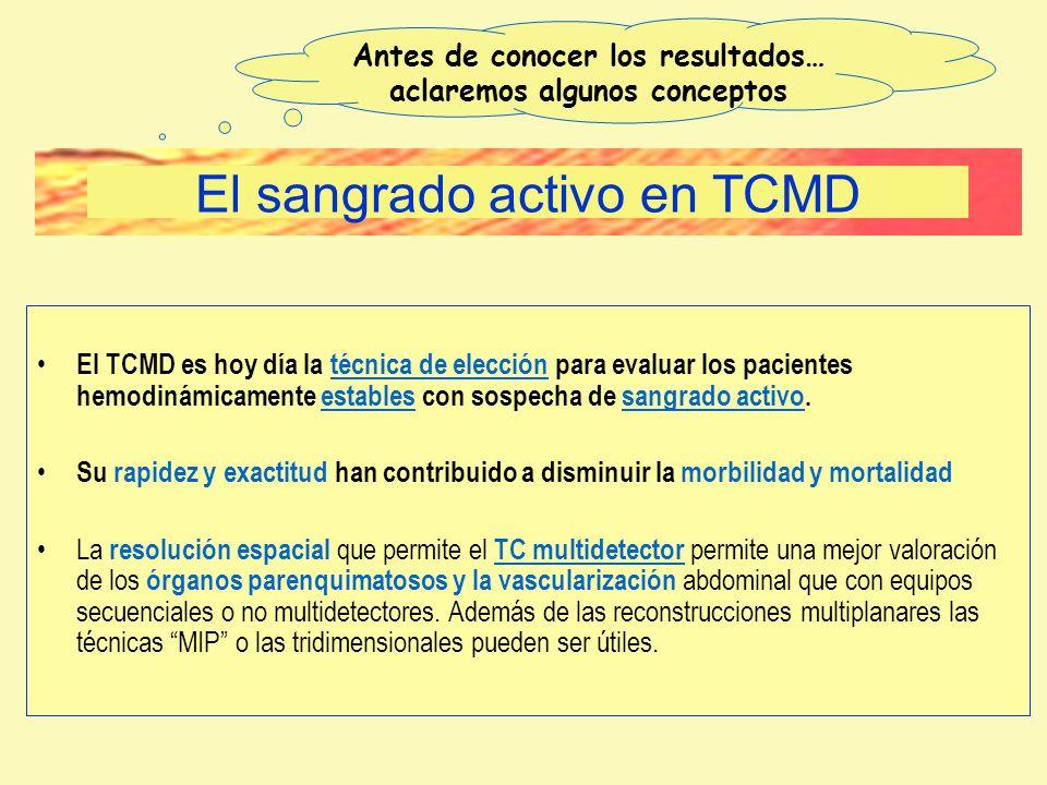 El TCMD es hoy día la técnica de elección para evaluar los pacientes hemodinámicamente estables con sospecha de sangrado activo. Su rapidez y exactitu