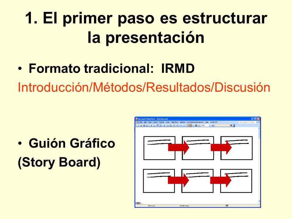 1. El primer paso es estructurar la presentación Formato tradicional: IRMD Introducción/Métodos/Resultados/Discusión Guión Gráfico (Story Board)