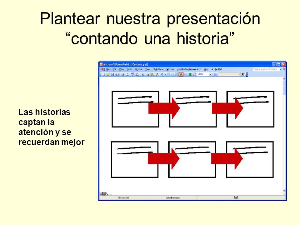 Plantear nuestra presentación contando una historia Las historias captan la atención y se recuerdan mejor