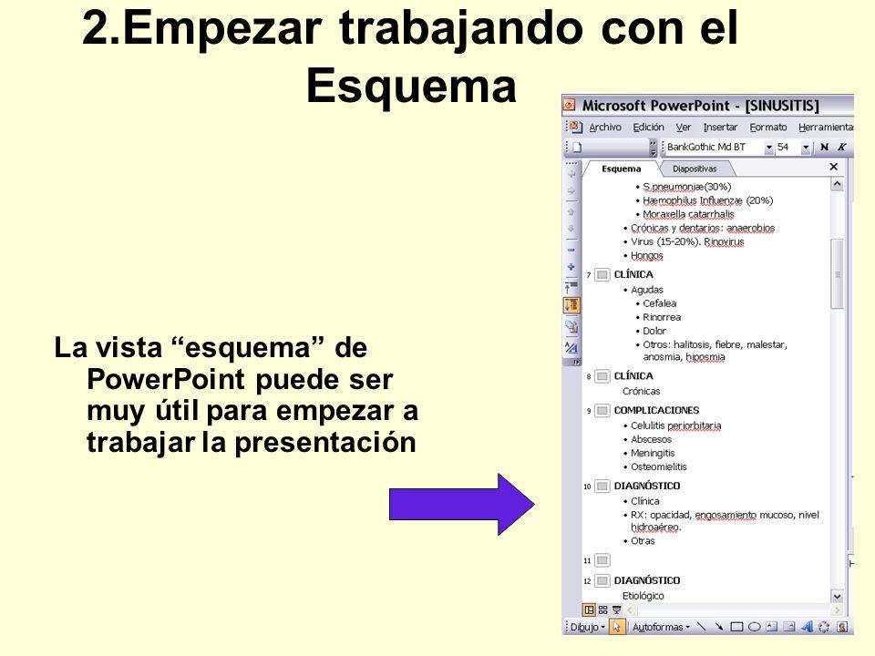 2.Empezar trabajando con el Esquema La vista esquema de PowerPoint puede ser muy útil para empezar a trabajar la presentación