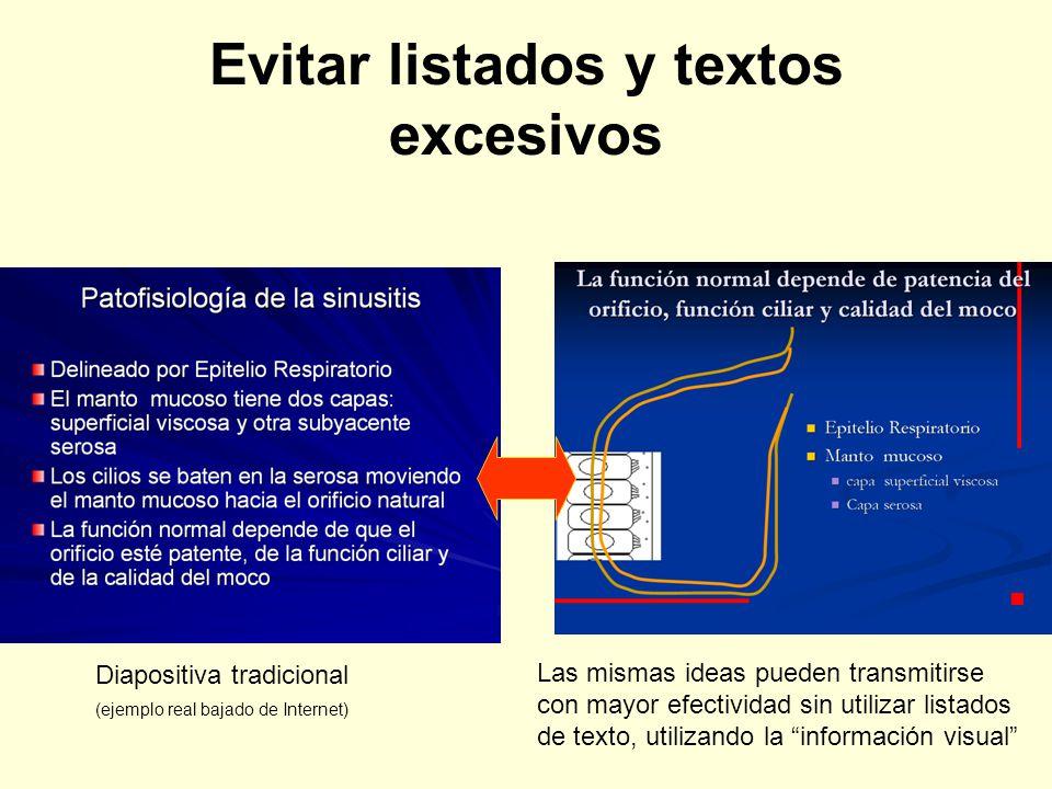 Evitar listados y textos excesivos Diapositiva tradicional (ejemplo real bajado de Internet) Las mismas ideas pueden transmitirse con mayor efectivida