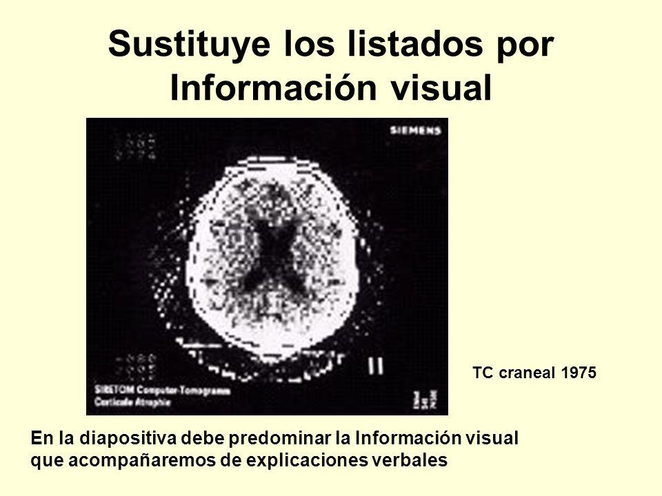 Sustituye los listados por Información visual En la diapositiva debe predominar la Información visual que acompañaremos de explicaciones verbales TC c