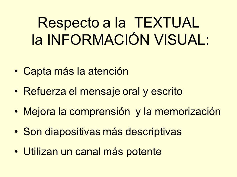 Respecto a la TEXTUAL la INFORMACIÓN VISUAL: Capta más la atención Refuerza el mensaje oral y escrito Mejora la comprensión y la memorización Son diap
