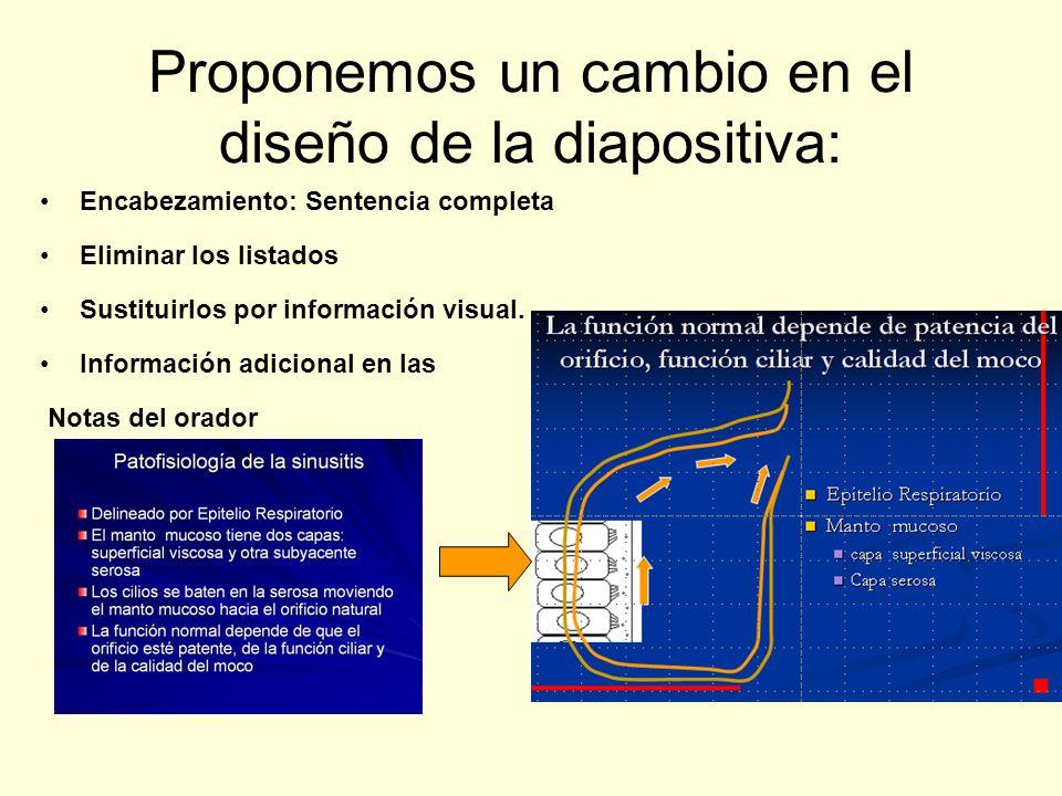 Proponemos un cambio en el diseño de la diapositiva: Encabezamiento: Sentencia completa Eliminar los listados Sustituirlos por información visual. Inf