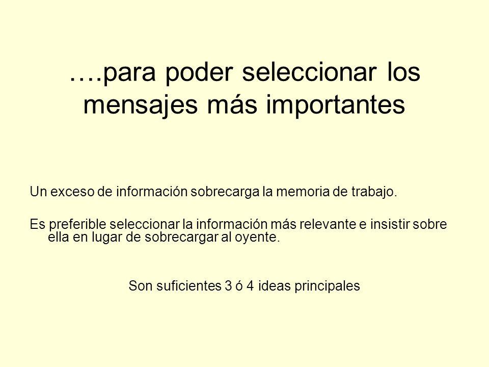 ….para poder seleccionar los mensajes más importantes Un exceso de información sobrecarga la memoria de trabajo. Es preferible seleccionar la informac