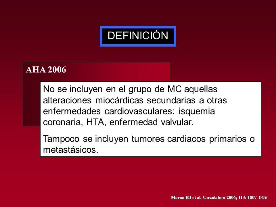DEFINICIÓN AHA 2006 No se incluyen en el grupo de MC aquellas alteraciones miocárdicas secundarias a otras enfermedades cardiovasculares: isquemia cor
