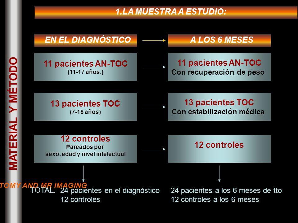MATERIAL Y MÉTODO EN EL DIAGNÓSTICO 11 pacientes AN-TOC (11-17 años.) 13 pacientes TOC (7-18 años) 12 controles Pareados por sexo, edad y nivel intelectual 24 pacientes en el diagnóstico 12 controles A LOS 6 MESES 11 pacientes AN-TOC Con recuperación de peso 13 pacientes TOC Con estabilización médica 12 controles 24 pacientes a los 6 meses de tto 12 controles a los 6 meses 1.LA MUESTRA A ESTUDIO: TOTAL: