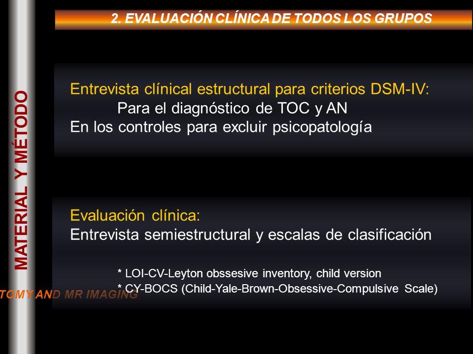 2. EVALUACIÓN CLÍNICA DE TODOS LOS GRUPOS Entrevista clínical estructural para criterios DSM-IV: Para el diagnóstico de TOC y AN En los controles para