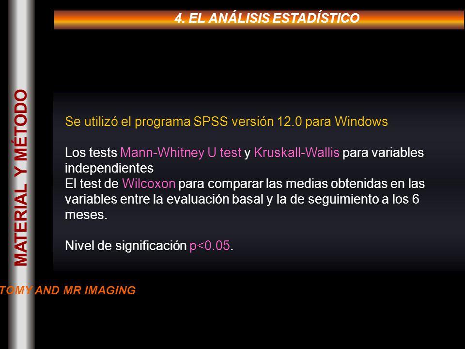 4. EL ANÁLISIS ESTADÍSTICO Se utilizó el programa SPSS versión 12.0 para Windows Los tests Mann-Whitney U test y Kruskall-Wallis para variables indepe