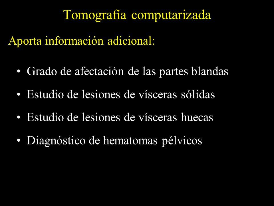 Tomografía computarizada Grado de afectación de las partes blandas Estudio de lesiones de vísceras sólidas Estudio de lesiones de vísceras huecas Diag