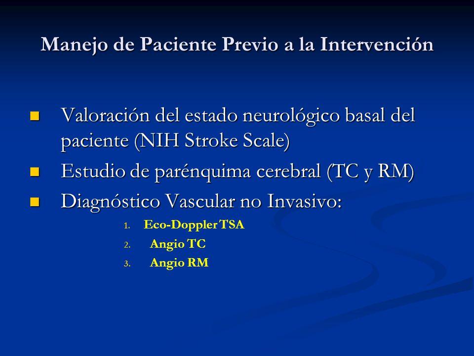 Manejo de Paciente Previo a la Intervención Hemograma, Bioquímica básica, Coagulación, Función renal Radiografia de tórax Electrocardiograma PREPARACIÓN PARA EL PROCEDIMIENTO Doble antiagregación: clopidogrel (75 mg/día) AAS (125 mg/día) Anticoagulación: HBP subcutánea Retirarada de antidiabéticos orales (Metformina) CONSULTA PRE-ANESTÉSICA