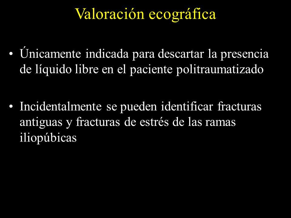 Valoración ecográfica Únicamente indicada para descartar la presencia de líquido libre en el paciente politraumatizado Incidentalmente se pueden ident
