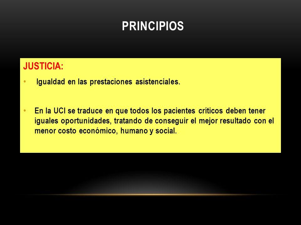 PRINCIPIOS JUSTICIA: Igualdad en las prestaciones asistenciales. En la UCI se traduce en que todos los pacientes críticos deben tener iguales oportuni