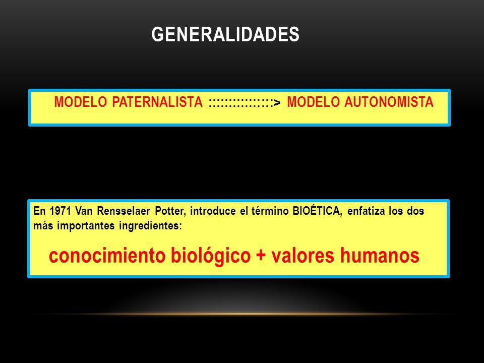 GENERALIDADES MODELO PATERNALISTA ::::::::::::::::> MODELO AUTONOMISTA En 1971 Van Rensselaer Potter, introduce el término BIOÉTICA, enfatiza los dos