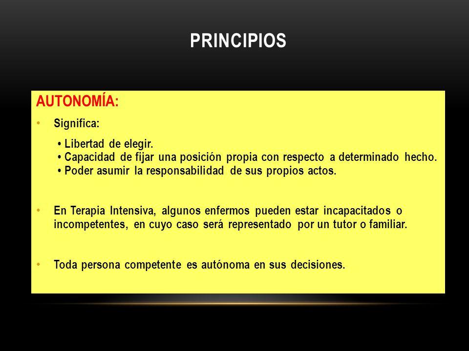 PRINCIPIOS AUTONOMÍA: Significa: Libertad de elegir. Capacidad de fijar una posición propia con respecto a determinado hecho. Poder asumir la responsa