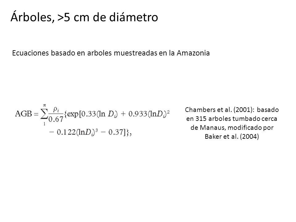 Árboles, >5 cm de diámetro Chambers et al. (2001): basado en 315 arboles tumbado cerca de Manaus, modificado por Baker et al. (2004) Ecuaciones basado