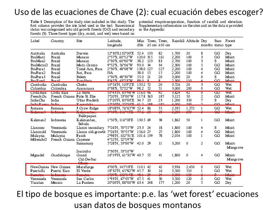 Uso de las ecuaciones de Chave (2): cual ecuación debes escoger? El tipo de bosque es importante: p.e. las wet forest ecuaciones usan datos de bosques