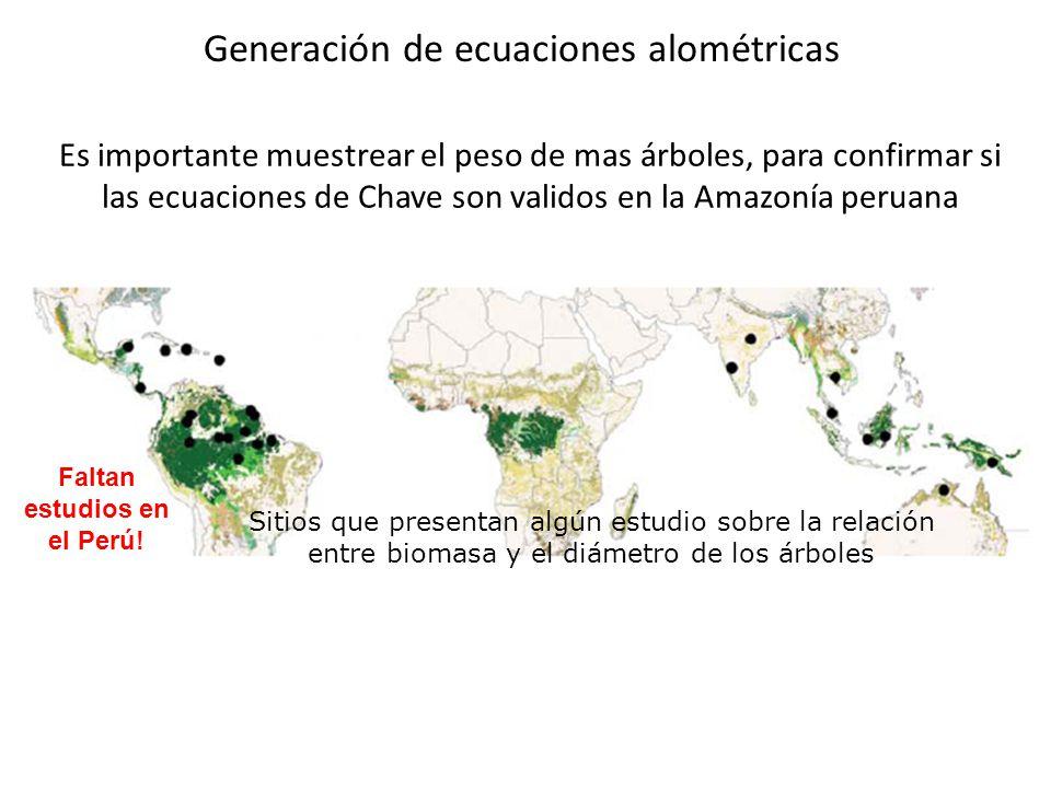 Sitios que presentan algún estudio sobre la relación entre biomasa y el diámetro de los árboles Faltan estudios en el Perú! Es importante muestrear el