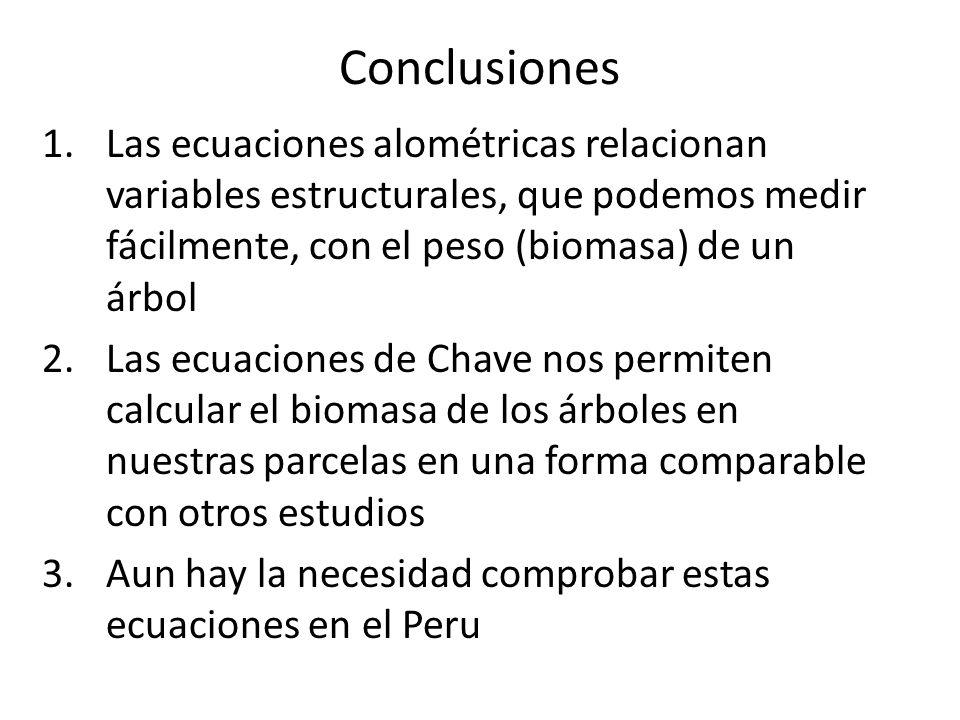 Conclusiones 1.Las ecuaciones alométricas relacionan variables estructurales, que podemos medir fácilmente, con el peso (biomasa) de un árbol 2.Las ec