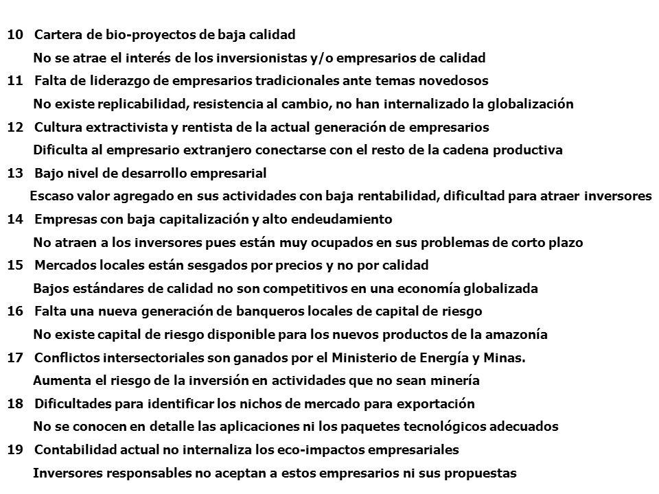 Barreras para la inversión en cadenas productivas en la Amazonía.