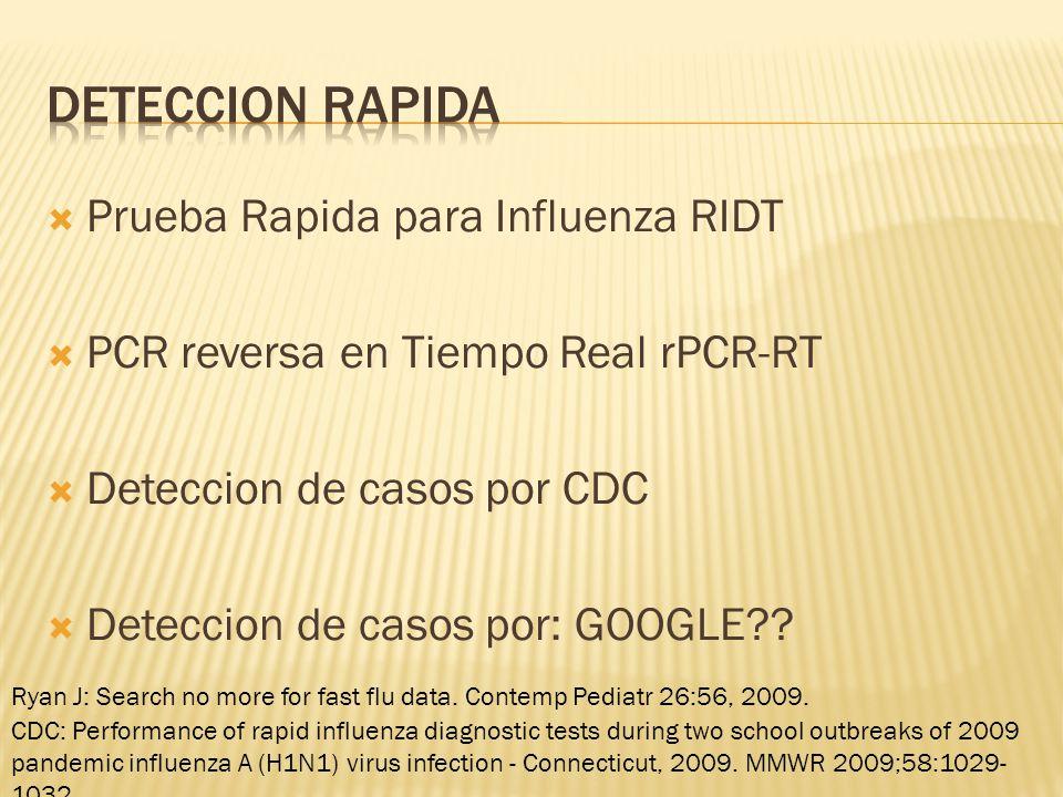 Prueba Rapida para Influenza RIDT PCR reversa en Tiempo Real rPCR-RT Deteccion de casos por CDC Deteccion de casos por: GOOGLE?.