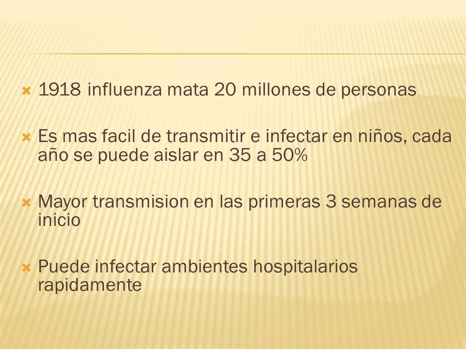 1918 influenza mata 20 millones de personas Es mas facil de transmitir e infectar en niños, cada año se puede aislar en 35 a 50% Mayor transmision en las primeras 3 semanas de inicio Puede infectar ambientes hospitalarios rapidamente
