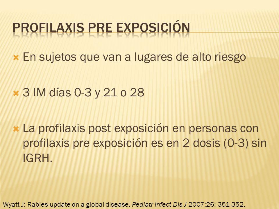 En sujetos que van a lugares de alto riesgo 3 IM días 0-3 y 21 o 28 La profilaxis post exposición en personas con profilaxis pre exposición es en 2 do