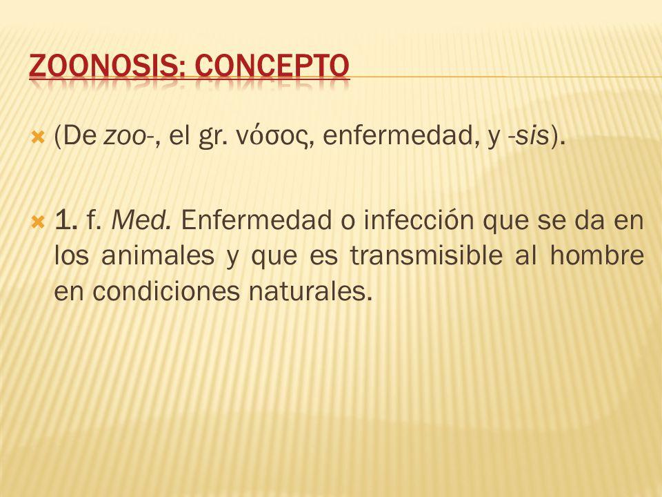 (De zoo-, el gr. ν σος, enfermedad, y -sis). 1. f. Med. Enfermedad o infección que se da en los animales y que es transmisible al hombre en condicione