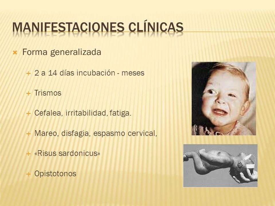 Forma generalizada 2 a 14 días incubación - meses Trismos Cefalea, irritabilidad, fatiga. Mareo, disfagia, espasmo cervical, «Risus sardonicus» Opisto