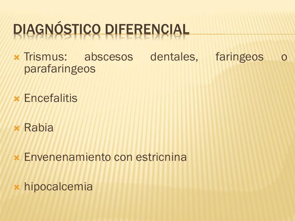 Trismus: abscesos dentales, faringeos o parafaringeos Encefalitis Rabia Envenenamiento con estricnina hipocalcemia