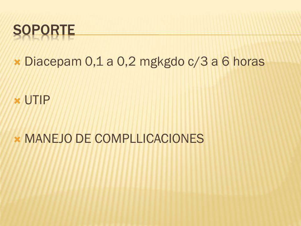 Diacepam 0,1 a 0,2 mgkgdo c/3 a 6 horas UTIP MANEJO DE COMPLLICACIONES