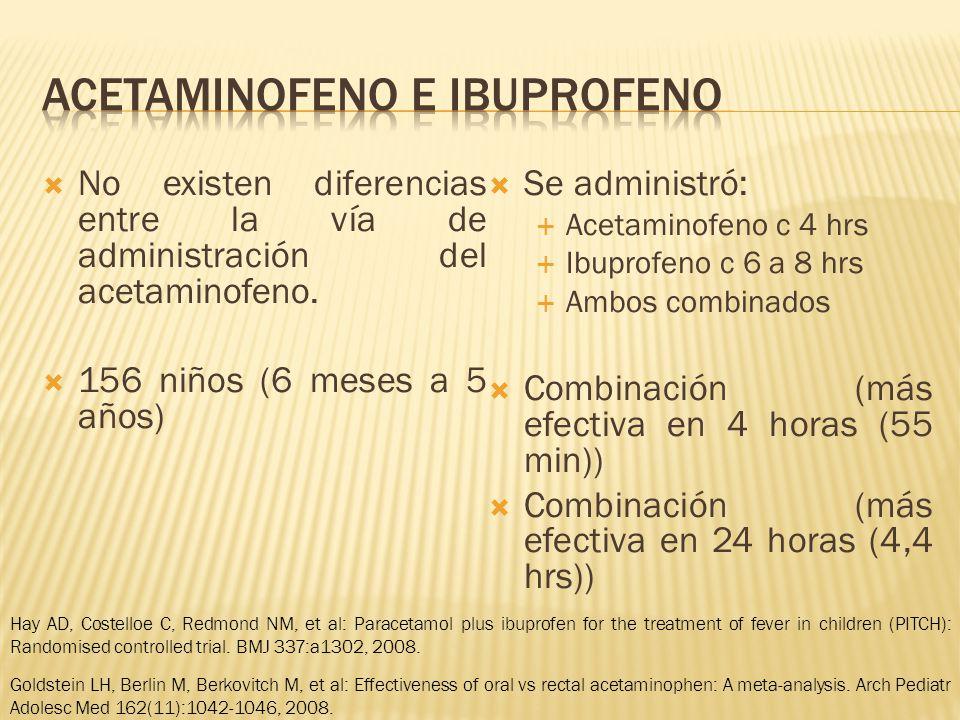 No existen diferencias entre la vía de administración del acetaminofeno. 156 niños (6 meses a 5 años) Se administró: Acetaminofeno c 4 hrs Ibuprofeno
