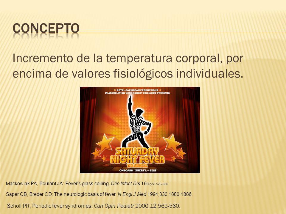 Incremento de la temperatura corporal, por encima de valores fisiológicos individuales. Scholl PR: Periodic fever syndromes. Curr Opin Pediatr 2000;12