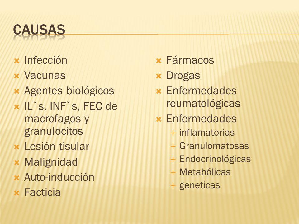 Infección Vacunas Agentes biológicos IL`s, INF`s, FEC de macrofagos y granulocitos Lesión tisular Malignidad Auto-inducción Facticia Fármacos Drogas E