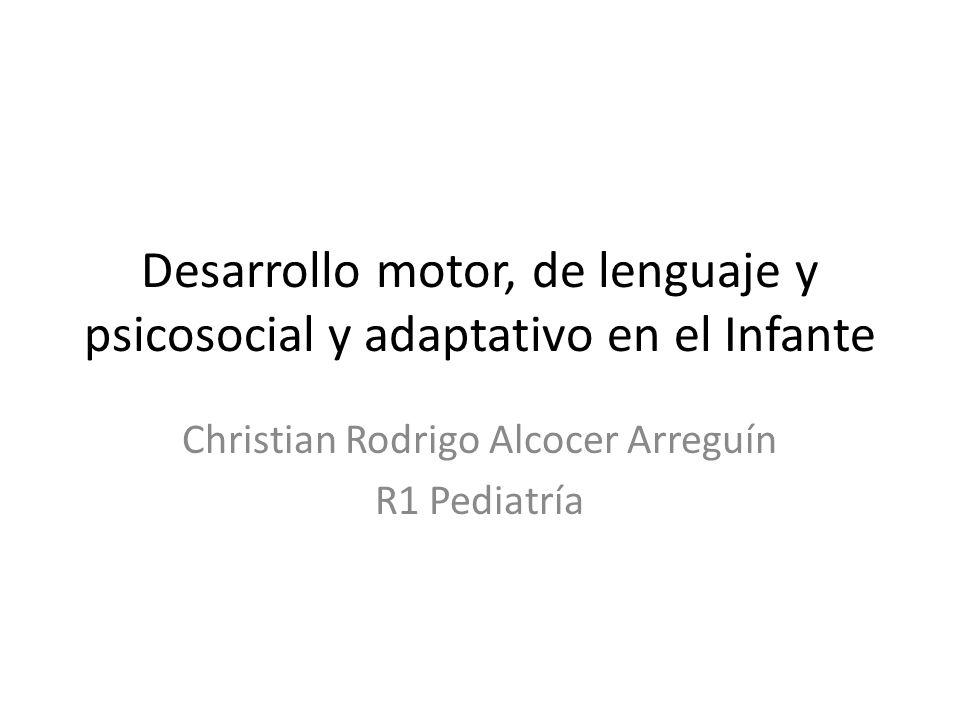 Desarrollo motor, de lenguaje y psicosocial y adaptativo en el Infante Christian Rodrigo Alcocer Arreguín R1 Pediatría