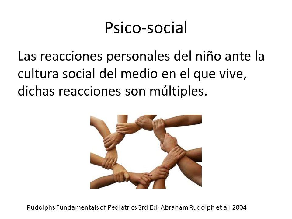 Psico-social Las reacciones personales del niño ante la cultura social del medio en el que vive, dichas reacciones son múltiples.