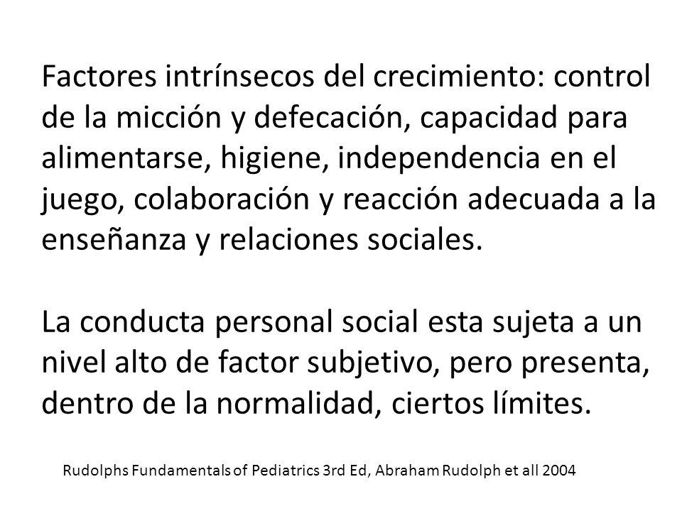 Factores intrínsecos del crecimiento: control de la micción y defecación, capacidad para alimentarse, higiene, independencia en el juego, colaboración