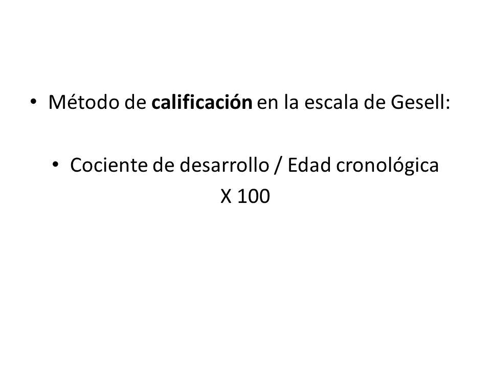 Método de calificación en la escala de Gesell: Cociente de desarrollo / Edad cronológica X 100